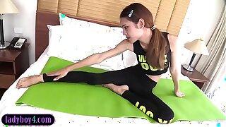 Young fitness ladyboy teen with braces bareback anal