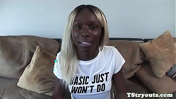 Casting black trans wanks chocolate cock solo