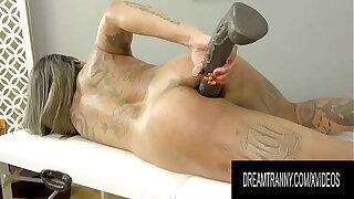 Massive Black Rubber Cock Helps TS Newcummer Imola Castro Masturbate