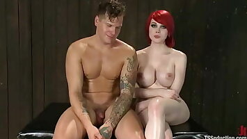 Red hair shemale in latex catsuit fucking man