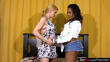 FULL video of black shemale sucking and riding white cock